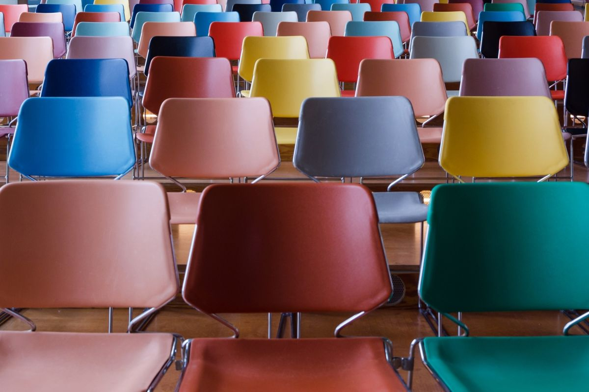 Colourful meeting room chairs