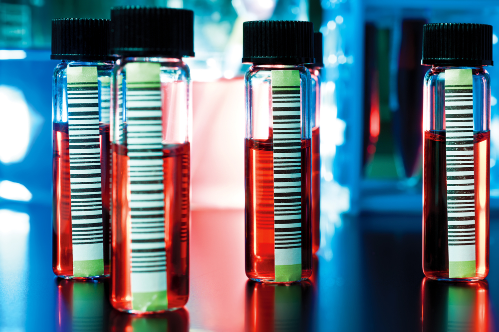 Blood samples with barcodes
